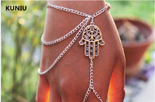 Fatpig Hamsa Hand Silver Slave Bracelet Ring,chain Harness Fashion Jewellery(China)