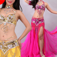 Elegant Belly Dance Costume For Ladies Rose red White Blue Glamour 3Pcs (Bra+Belt +Skirts) Suit Women Professional Clothes N2027