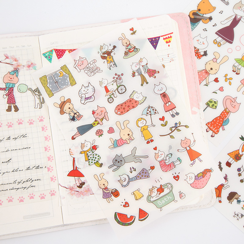 6 Sheets/pack Kawaii Cat Decorative Stickers Scrapbooking Stick Label Diary Stationery Album Journal Stickers