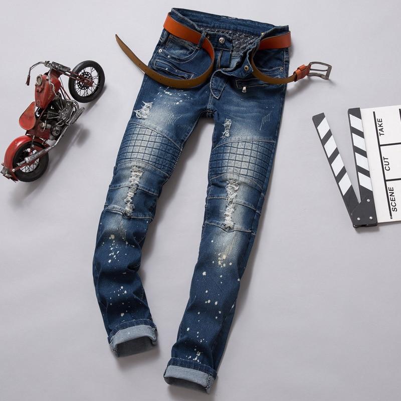 2016 Men Jeans Denim Distressed Mens Slim Skinny Japan Style Biker Rock Ripped jeans