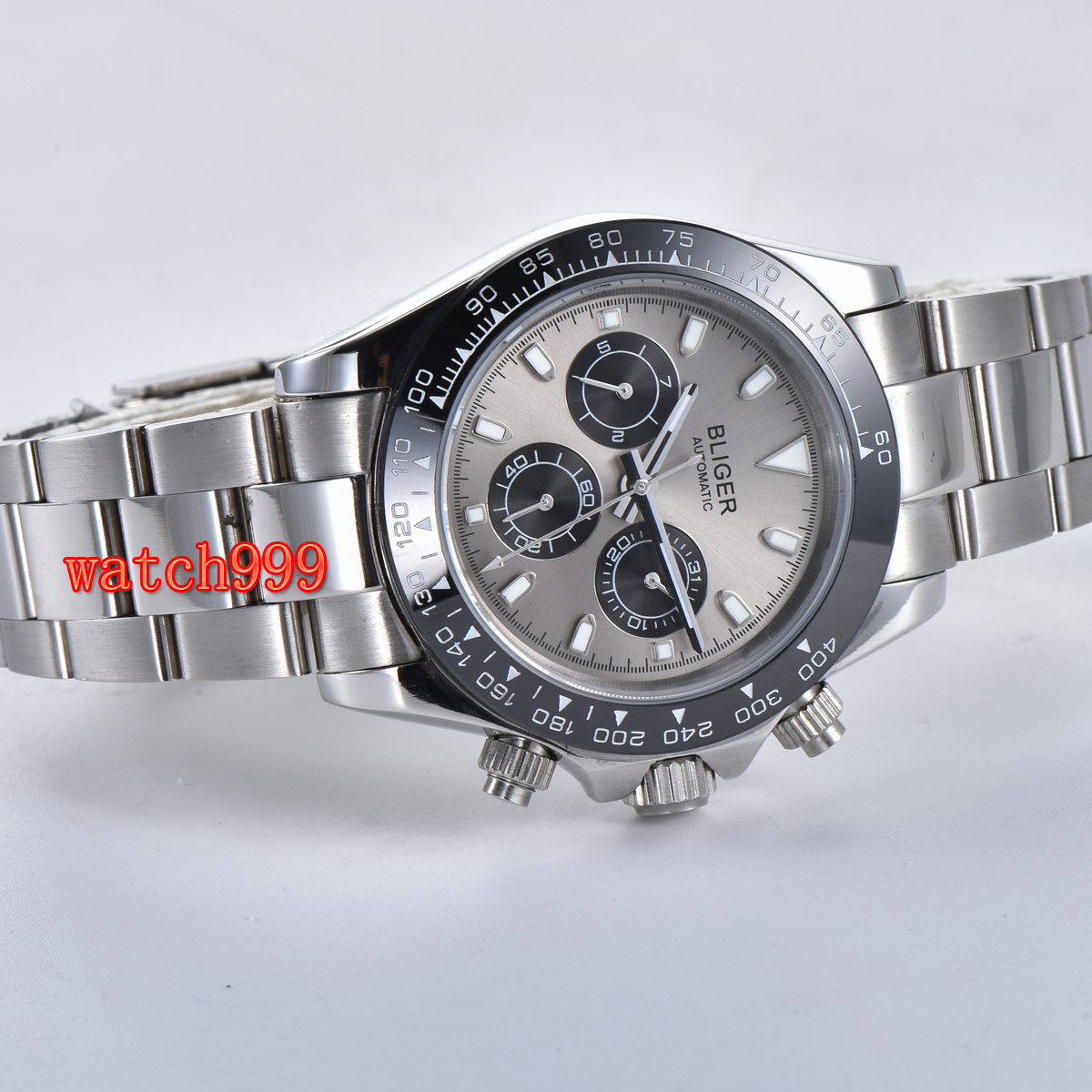 Image 4 - 39mm BLIGER gray dial mineral glass steel case automatic movement  mens casual watch steel strap waterproof mechanical watchMechanical  Watches