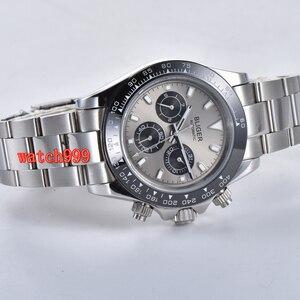 Image 4 - 39mm BLIGER אפור חיוג מינרליים זכוכית פלדת מקרה אוטומטי תנועת גברים של שעון מזדמן רצועת פלדה עמיד למים שעון מכאני