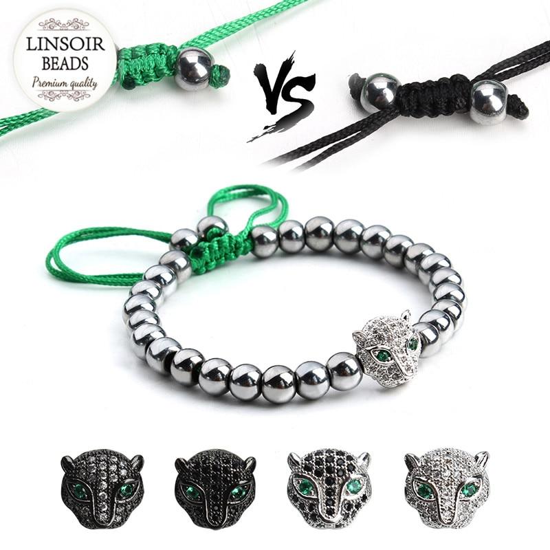 Aliexpress.com Comprar 2017 Nueva Anil Arjandas Leopard Head Pulsera  Hombres Pulseras pulseras Del Macrame Del Grano del Hematites de Piedra  Natural Negro