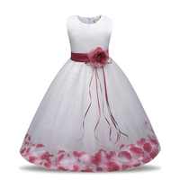 10 Colors 4 8Years Fashion Summer Kids Girls Dresses Satin Mesh Flower Princess Dress Birthday