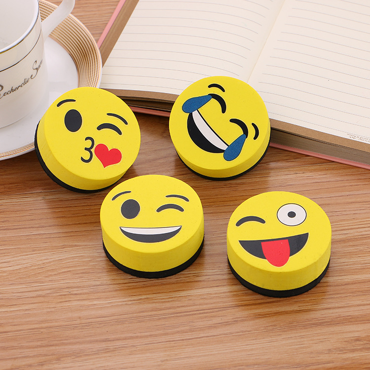 2pcs Yellow Smile Face Whiteboard Eraser Magnetic Board Erasers Wipe Dry School Blackboard Marker Cleaner  Styles Randomly Sent