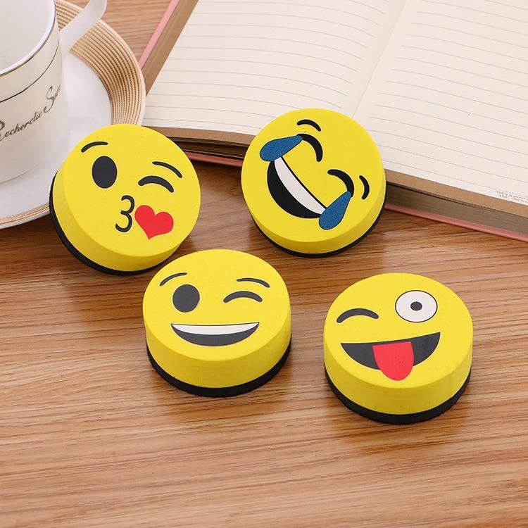 2pcs Yellow Smile Face Whiteboard Eraser Magnetic Board Erasers Wipe Dry School Blackboard Marker Cleaner  Styles Randomly Sent
