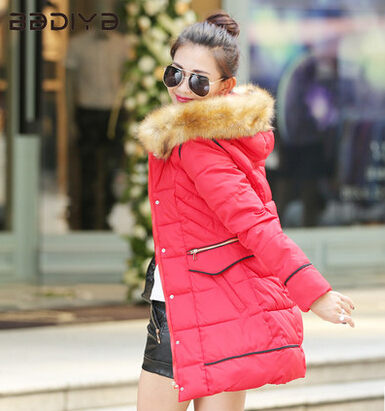 2015 Women Winter Warm Long Down Parkas Female Slim Down Cotton Jacket Hooded Faux Fur Collar Ladies Elegant Thick Coat H5310 women winter fashion warm down jacket hooded cotton long fur collar slim women thick parkas coats zipper ladies outwear parkas