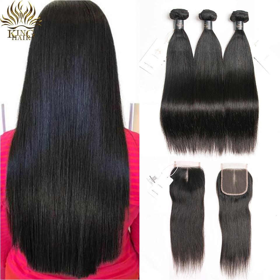 King Hair Brazilian Hair Weave Bundles With Closure Remy Human Hair Bundles With Closure Straight Hair 3 Bundles With Closure