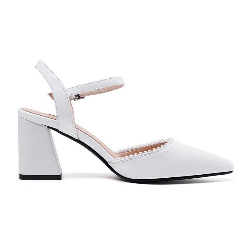 Puntiagudo Tacón Mujer Verano De White Universo Dedo Del Cuero Sandalias black Zapatos Elegante Genuino Vestir Pie H069 1RqnCP
