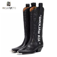 Prova Perfetto metal decor pointed toe embossed genuine leather knee high boots women chunky heel air walking print knight boots