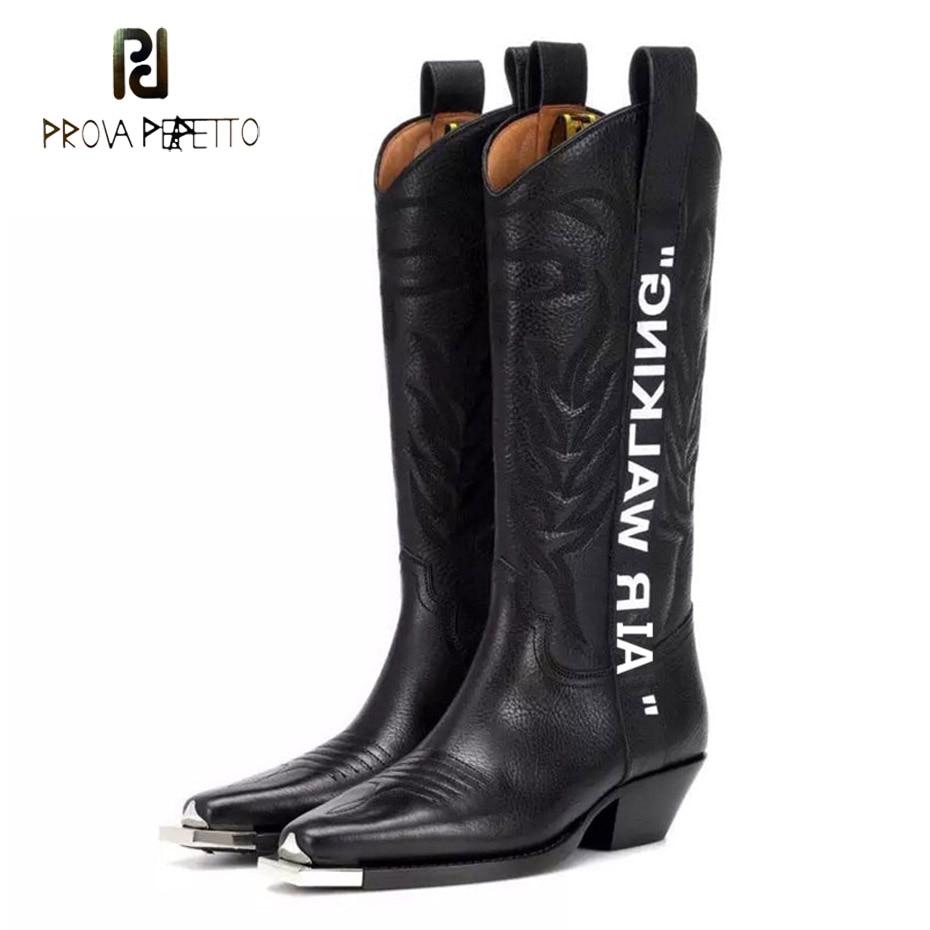 Prova Perfetto/женские сапоги до колена из тисненой натуральной кожи, с острым носком и металлическим декором, на массивном каблуке, для прогулок,
