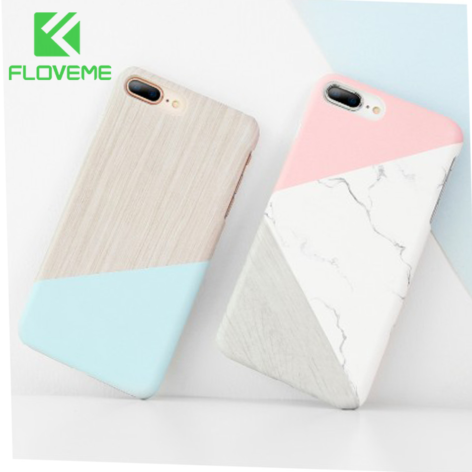 FLOVEME Case For iPhone X XR XSMAX Hard Case For iPhone 6 7 6S Plus 5S 5 SE Ultra Thin Marble Wood Patterned Phone Cases Funda in Fitted Cases from Cellphones Telecommunications