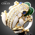 New Design 18 K Gold Plated Animal Pattern Women Jewelry Elegant Imitation Diamond Party Gift Fashion Crystal Enamel Frog Rings