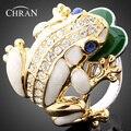 Nuevo Diseño 18 K Chapado En Oro Animal Patrón Mujeres Elegantes Joyas de Regalo Del Partido Cristalino de La Manera de Imitación de Diamante Anillos Del Esmalte de La Rana