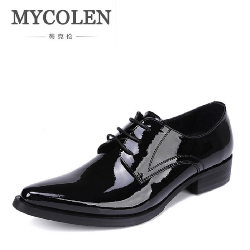 MYCOLEN Genuine Leather Mens Dress Shoes Brogue Oxford Shoes Brand Lace-Up Business Men Wedding Shoes Zapatillas Hombre Casual men s shoes business dress genuine leather evening dress flat shoes brand luxry oxford men loafers wedding leather shoes