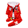 2016 Mickey mouse tracksuits Children Kids baby Boys Cloth Set Autumn Winter 3pcs Set shirt+Hooded Coat+pants Suits Fall Cotton