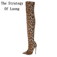 Women Leopard Print Thin High Heels Over The Knee Long Boots Big Size Thigh High Pointed