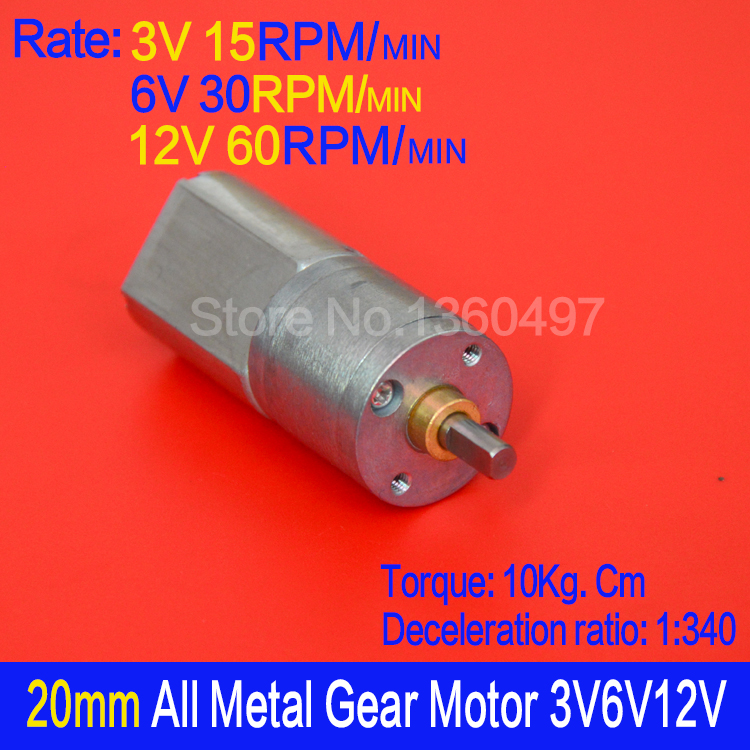 15mm Shaft Gear Motor DC 6v-12v 45rpm Big Torque Mini Metal Gear Box Gear Motor