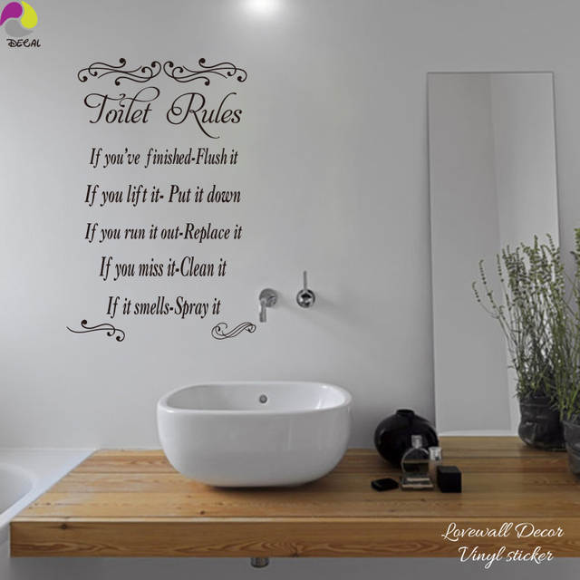 Wc regeln wandaufkleber badezimmer waschraum wc toilette toilette  wandtattoo loo wasserdicht vinyl home decor diy 3d poster