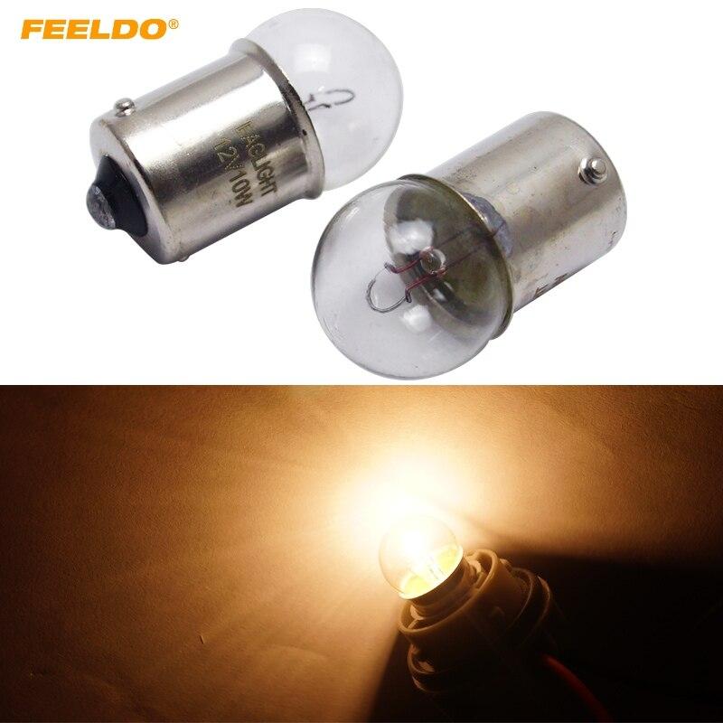 FEELDO 10Pcs 1156 BA15S G18 12V 10W Car Clear Glass Lamp Turn Tail Bulb Car Indicator Halogen Lamp #FD-2723 2 pcs fi5 g18 bp6l q12