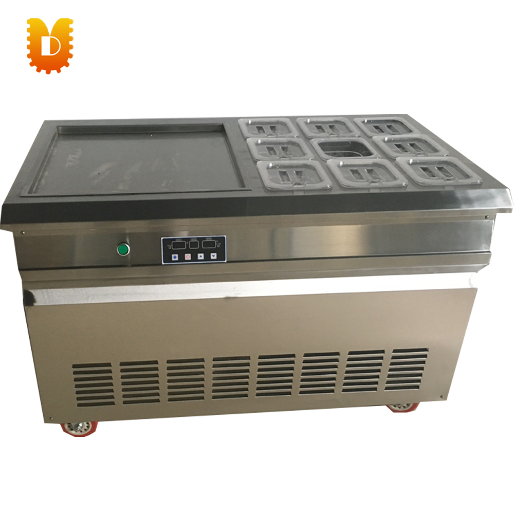 intelligent single pan ice cream roll making machine ice frying machine with 9 bottles chinese single round pan rolled ice cream machine fried ice cream roll machine with 6 barrels