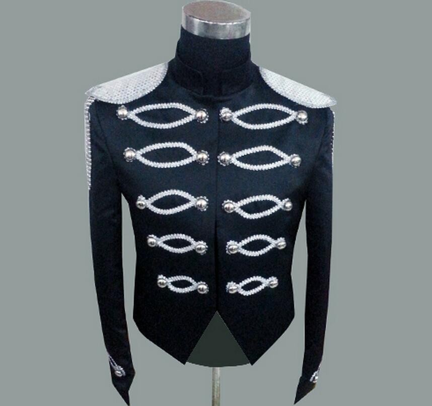 2016 Newest Sequins Coat Men Singers DJ Jacket The host stage clothing black white costumes concert dress !
