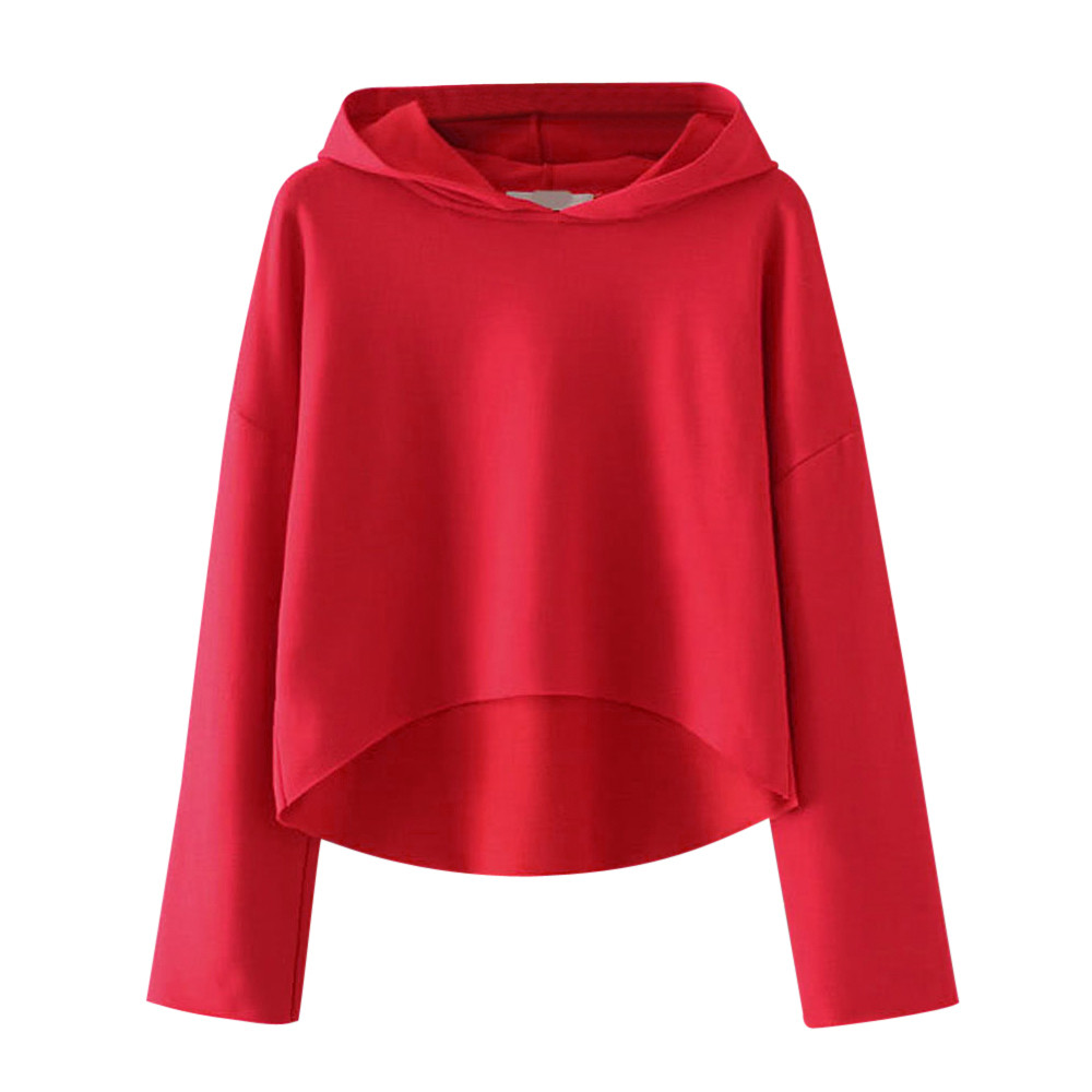Autumn Womens Long Sleeve Loose Solid Casual Fashion Ladies Hoodie Sweatshirt Hooded Pullover Tops