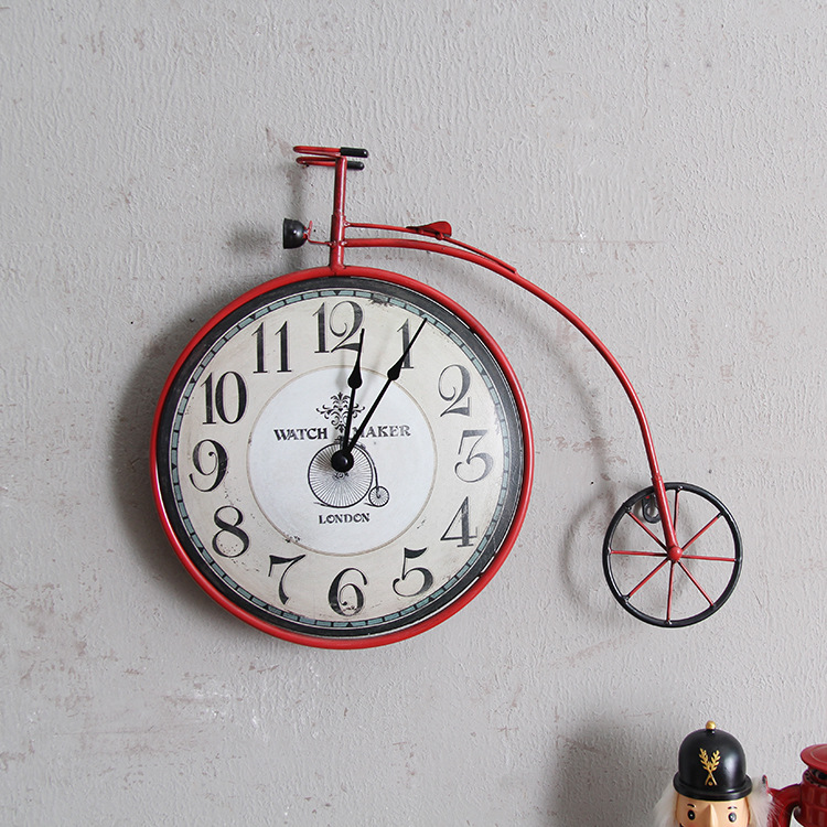 Vintage Creative Bicycle Cheap Clock Wall Mural Personality Decorative Bike Design Hanging Watch Retro Cycle Ornament Home Decor
