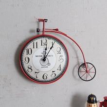 c45f2d5d564 Bicicleta do vintage Criativo relógio de parede mural Personalidade  Decorativo Bicicleta Ciclo de Projeto Pendurado Relógio