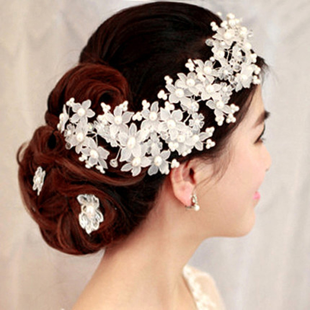 Cheap Bride Hairbands Hair Jewelry Flower Handmade Crystal Frontal Pearl Bridal Tiara Wedding Accessories Headband