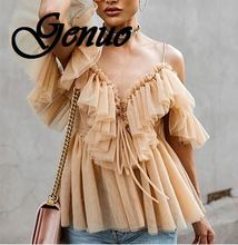 цена на Genuo Off shoulder womens tops and blouses summer 2019 Backless sexy peplum top female Vintage ruffle mesh blouse shirt blusas