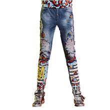 2017 новые летние женщины отверстие джинсы мода ковбой вышивки Разорвал Panelled Джинсовые брюки
