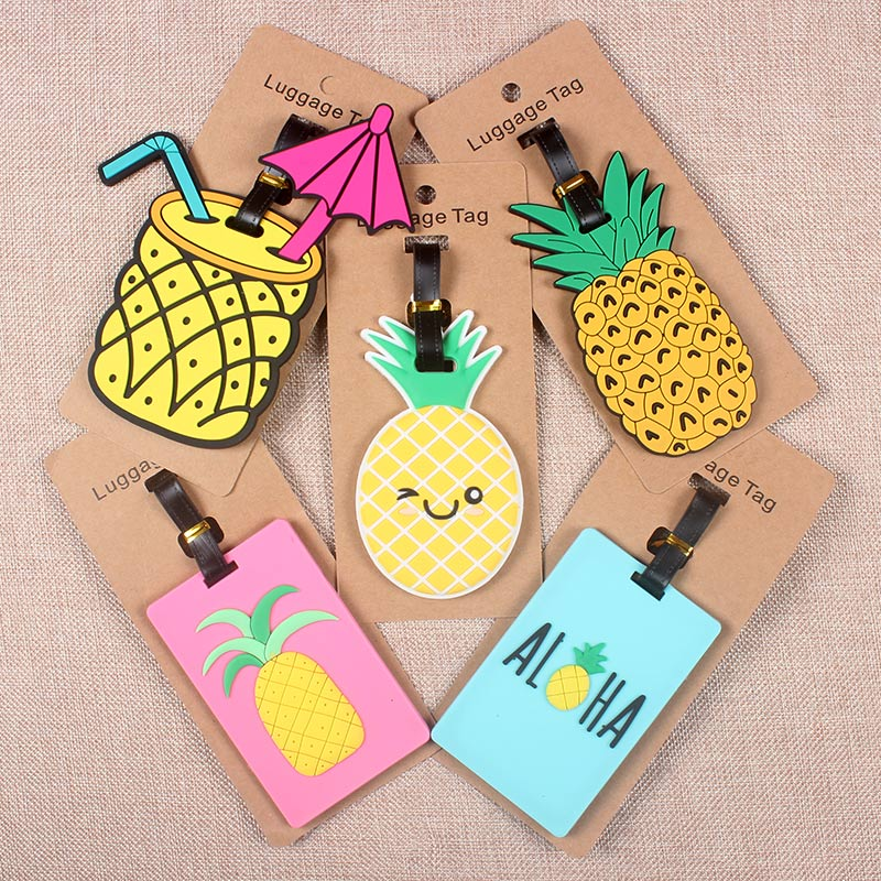 Pineapple Travel Accessories Creative Luggage Tag Silica Gel Suitcase ID Address Holder Baggage Boarding Tags Portable Label