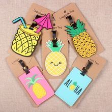 Pineapple Travel Accessories Creative Luggage Tag Silica Gel Suitcase ID Address Holder Baggage Boarding Tags Portable Label travel accessories luggage tag fashion map silica gel suitcase id address holder cute baggage boarding tag portable label