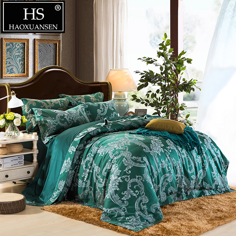 650TC Acanthus Leaf Jacquard Bedding Set Egyptian Cotton Yarn Dyed Baroque Design Sheets Duvet Cover Pillowcase Queen King Size in Bedding Sets from Home Garden