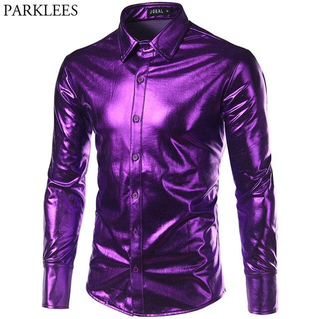 Mens purple dress shirt long sleeve