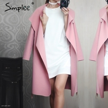 Simplee Black ruffle warm winter coat Women turndown long coat collar overcoat female Casual autumn 2016 pink outerwear