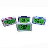 Espanhol falando lcd digital despertador com termômetro  iluminado de volta  para visão cega ou baixa  4 cores