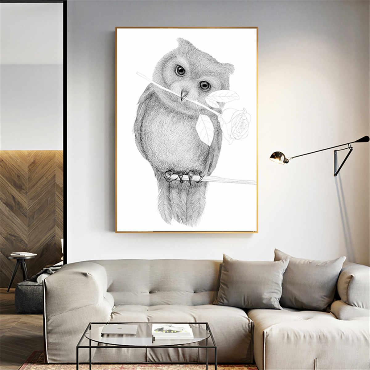 Modern Kanvas Lukisan Gambar Sketsa Burung Hantu Rose Poster
