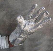 1 pair 5 finger fashion 38cm aluminum foil movie particular welding glove excessive temperature resistant security defend glove lengthy cuff
