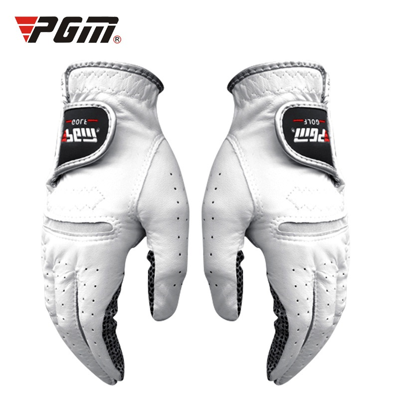Mens Golf Genuine leather gloves Left and Right Hand,Breathable Pure Sheepskin with Anti-slip granules Men