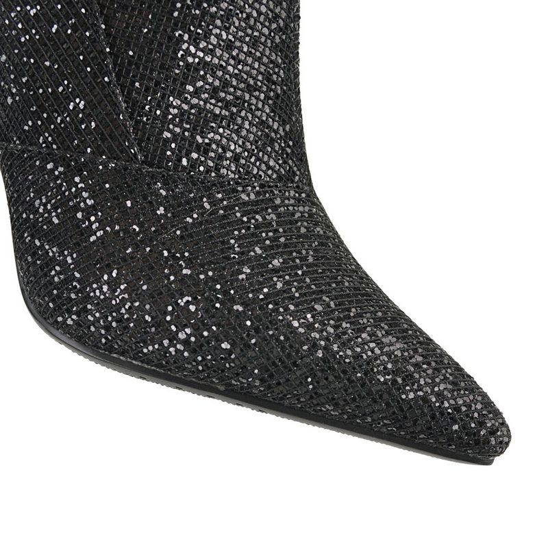 Danse Genou Sur Hauts De Chaussures Noir Mariage Femmes or Bottes Dames Nemaone Talons Bling Hiver Partie Le Haut argent Robe Chaud Brillant Femme 5t7xq