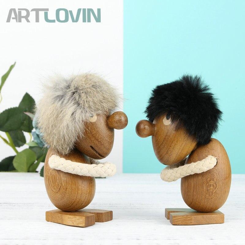 Nordique en bois de teck massif heureux/triste Fuzzy homme personnes Figurine belle maison ornement décoration en bois marionnette mode enfants cadeaux et jouets