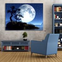 Stretched Canvas Prints Tree And moon LED Flashing Optical Fiber Print LED Wall Art LED Decorations