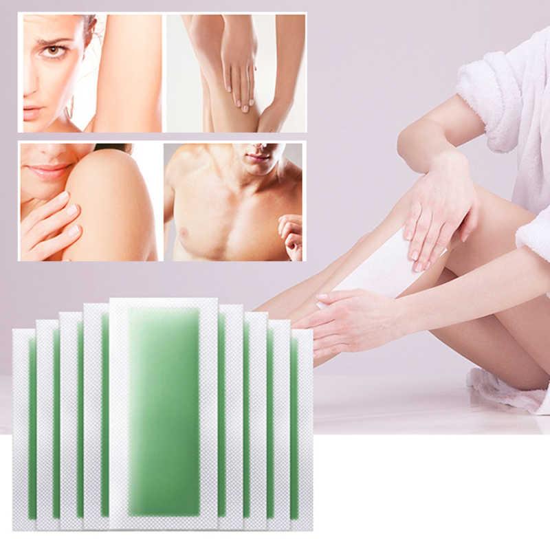 10 adet/takım Yaz Epilasyon için Çift taraflı Soğuk Balmumu Kağıt Bikini Yüz Vücut Saç Epilasyon Balmumu Fasulye