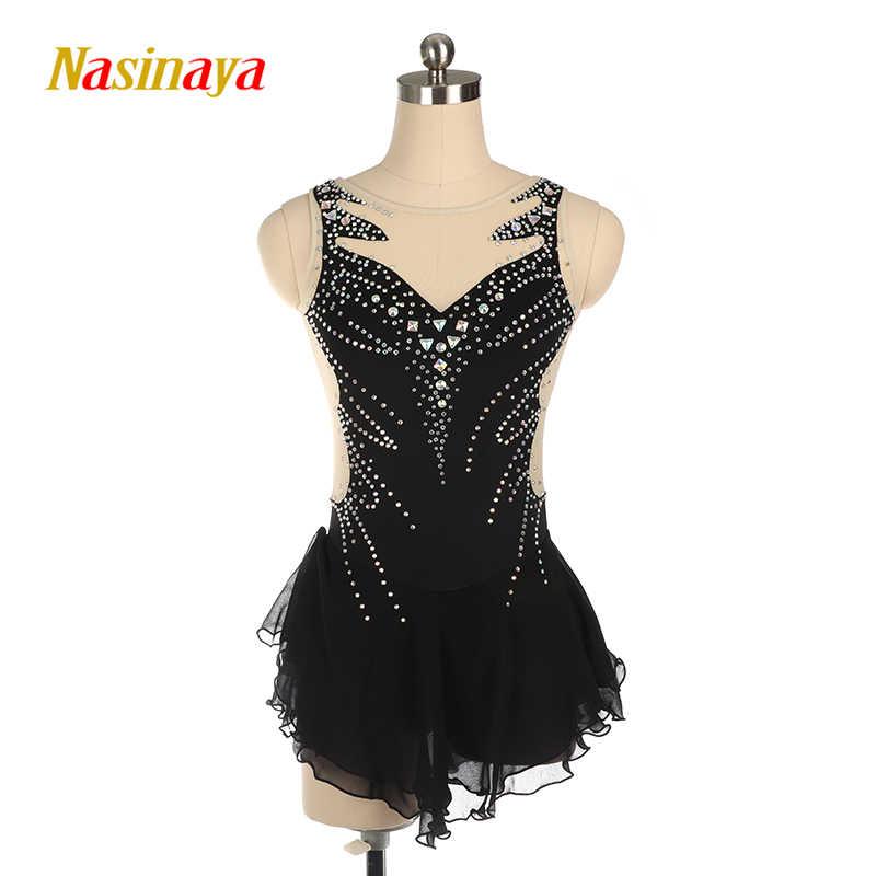 Nasinaya платье для фигурного катания черный спортивный костюм без рукавов для девочек и женщин костюм для фигурного катания