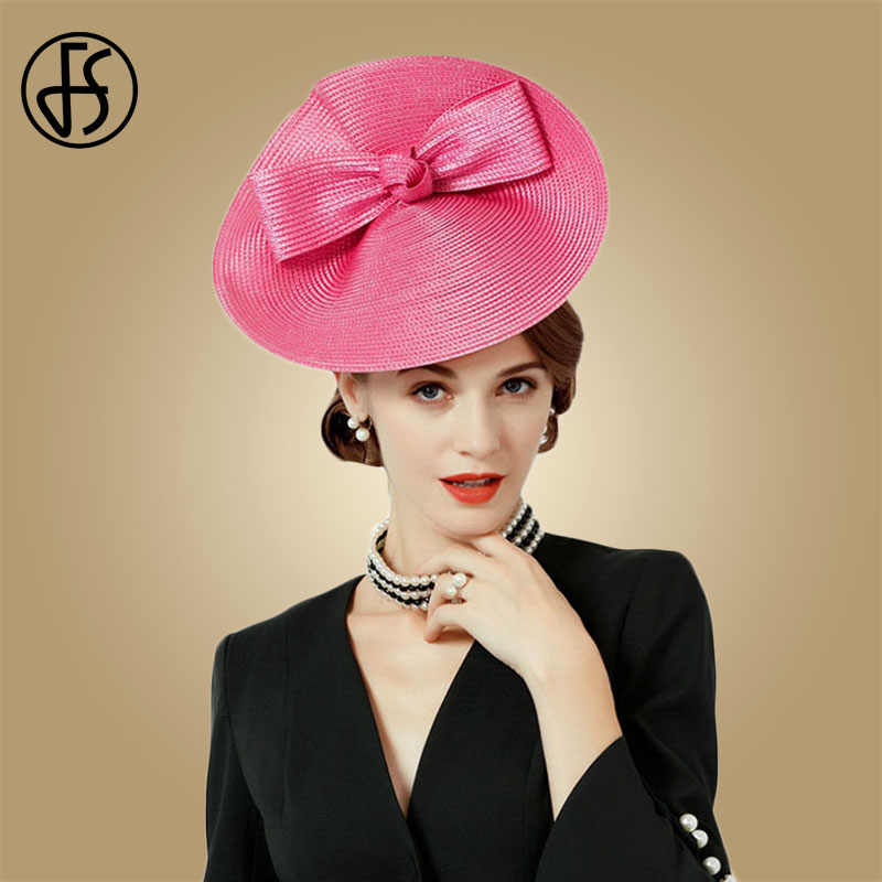FS Fascinators Weddings Hats Rose Bow Pillbox Hat For Women Summer Fedora Vintage Ladies Female Sinamay Chapeau Femme Feutre