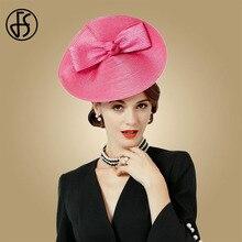 FS Fascinators Weddings Hats Rose Bow Pillbox Hat For Women Summer Fedora Vintage Ladies Female Sinamay Chapeau Femme Feutre