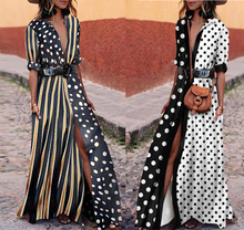 Bohemian Long Dress Summer Autumn Pocket Chiffon Black White Polka Dot Vertical Stripe Dresses Boho Beach Maxi Dress Large Sizes hidden pocket longline stripe dress