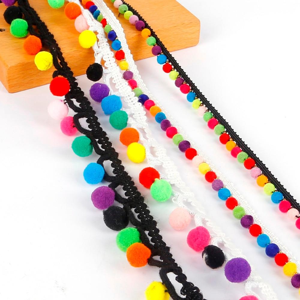 1Yard Bohemian Lace Ribbon Pom Pom Tassel Pompoms Trim Ball Fringe Embroidery DIY Sewing Garment Shoes Bag Gift Craft Accessory